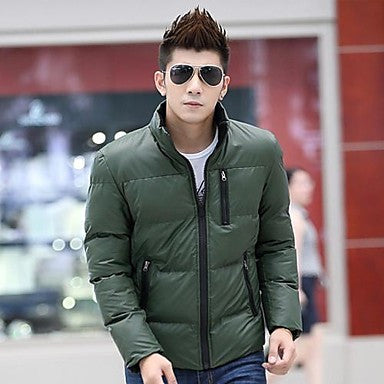 Men's Pure Color With Thick Cotton Padded Clothes Coat