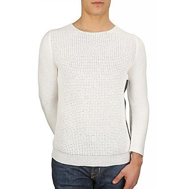 Men's Crew Neck Fashion Casual Long Sleeve Allover Rack Stitch Zipper Leather Trim Slim Sweater