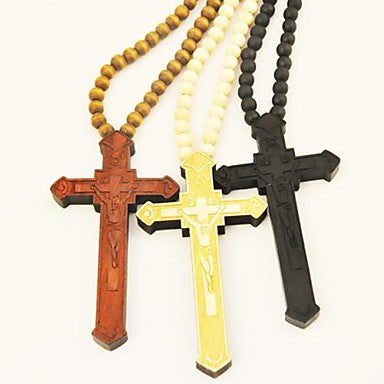 Cross Pattern Wood Necklace