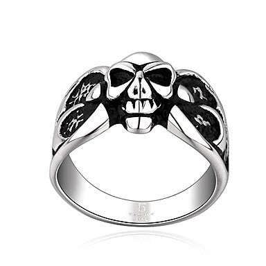 Vintage Silver Skull Shape Men's Statement Ring(1 Pc)