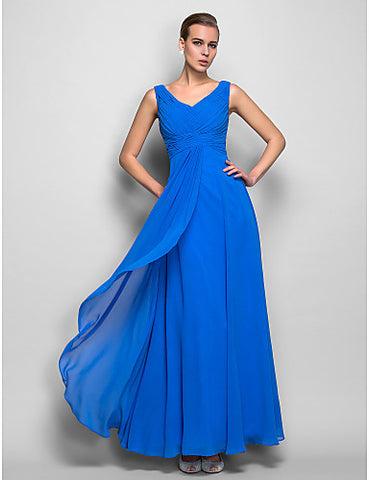 Sheath/Column V-neck Natural Floor-length Georgette Evening Dress