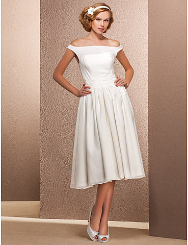 A-line Off-the-shoulder Tea-length Chiffon Wedding Dress