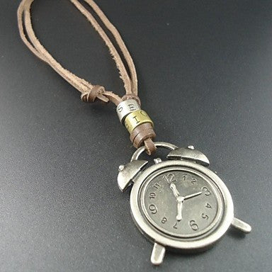 Newest Fashion Cool Alarm Clock Pendant Genuine Leather Men Necklace