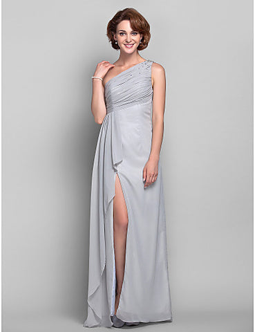 Sheath/Column One Shoulder Chiffon Mother of the Bride Dress