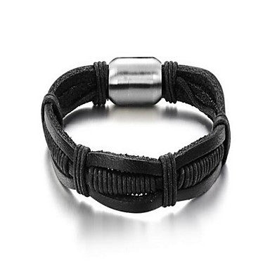 Fashion Men's Simple Black Alloy Leather Bracelet(1 Pc)