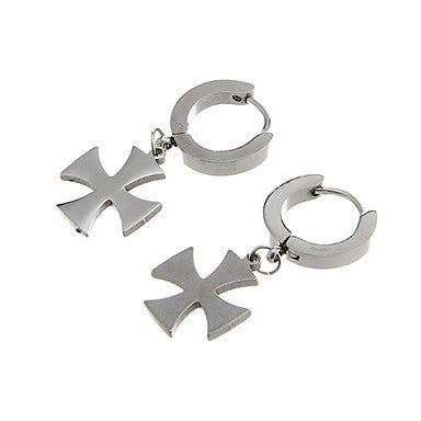 Classic Cross Shape Silver Alloy Drop Earring(1 Pair)