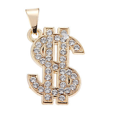 Exquisite High Quality Shining Golden Rhinestone US Dollar Pendant(1 Piece)