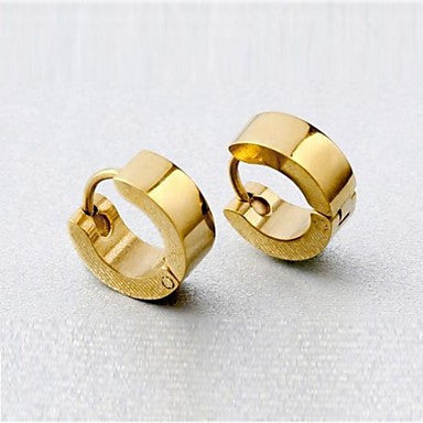 Men's Personality Plating Gold Titanium Steel Earrings