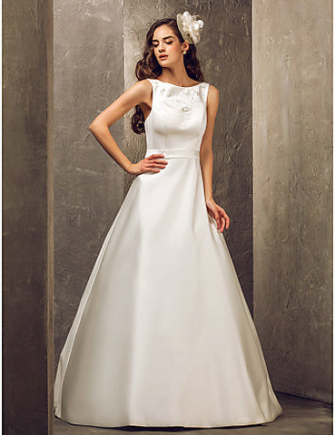 A-line Bateau Floor-length Satin Wedding Dress With Bow(s) (699614)