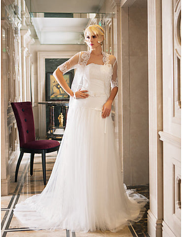 Wedding Dress Sheath Column Court Train Tulle and Lace Strapless With A Wrap