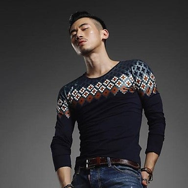Men's Restoring ancient ways round neck long sleeve cultivate One's morality fashion long-sleeved T-shirtTop