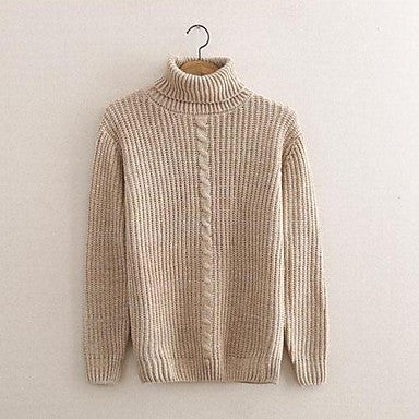 Men's Turtleneck Solid-Colored Sweater Knit