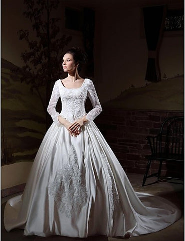 Ball Gown Long Sleeves Cathedral Train Luxury Wedding Dress With Beaded Appliques
