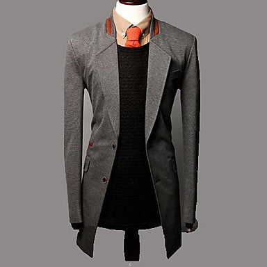 Men's Lapel Single Breasted Casual Windbreaker Coat