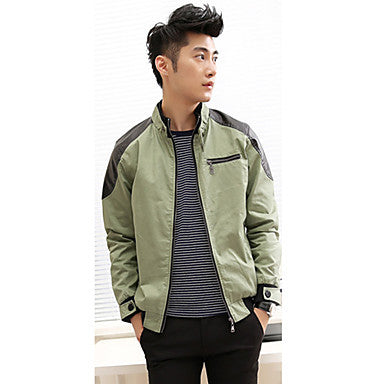 Men's Slim Splicing Woolen Jacket