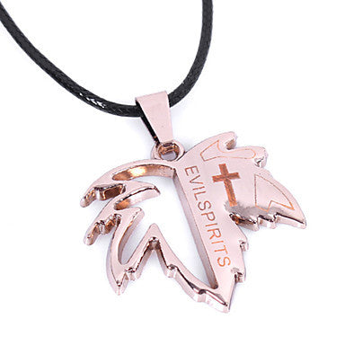 Men's Fashion Punk Leaf Shaped Evil Spirits Pendant Necklace