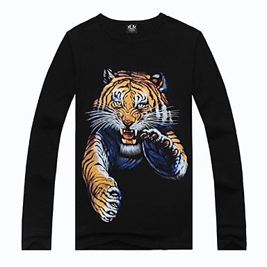 Men's Round Collar 3D Tiger Print T-shirt
