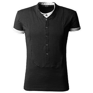 Men's Contrast Color Two Piece Like Fasion Short Sleeve Polo Shirt