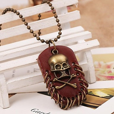 Korea Style Skull Alloy Leather Pandant Necklace(1pc)
