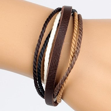 Comfortable Adjustable Men's Leather Bracelet Ramp Color Hemp Brown Leather(1 Piece)
