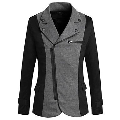 Men's New Style Lapel High Quality Diagonal Zipper Long Sleeve Casual Outerwear