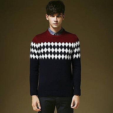 Men's Round Collar Printed Recreational Sweater