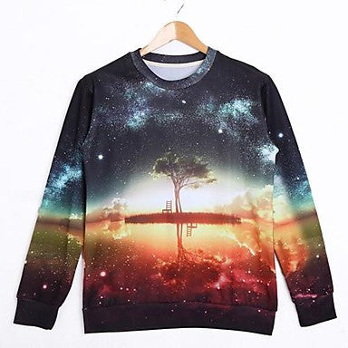 Men's Round Collar Long Sleeve 3D Print Cotton Sweatshirt