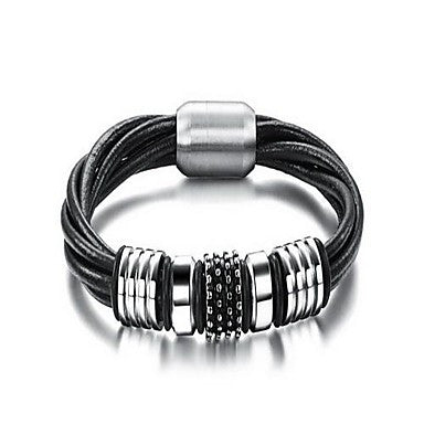 Fashion Men's Black And Silver Alloy Leather Bracelet(1 Pc)