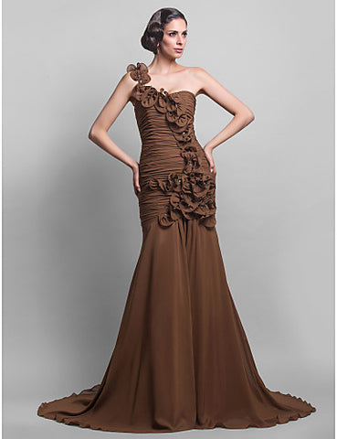 Trumpet/Mermaid One Shoulder Chiffon Floor-length Evening Dress