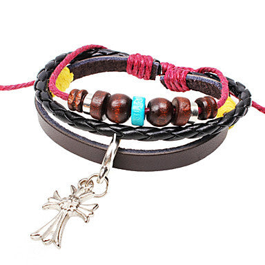 Men's Multilayer Cross Charm Brown Leather Wrap Bracelet