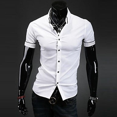 Men's New Style Fashion Bordure Slim Short Sleeved Shirt