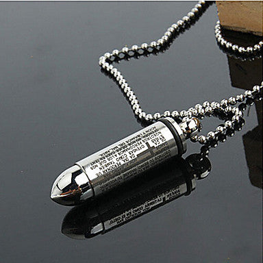 Fashion Simple Bullet Shape Silver Titanium Steel Pendants (1 Pc)