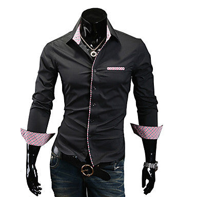 Men's Shirt Collar Contrast Color Basic Long Sleeve Shirt
