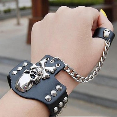 Fashion Skull Chain Leather Hiphop Bracelet With Ring