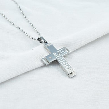 Fashion Men's Double Layers Pattern Cross Titainium Steel Pendant Necklace