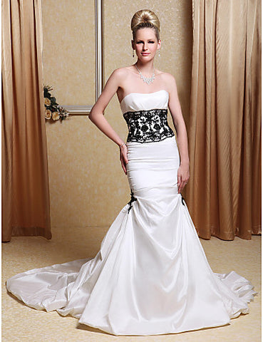 Taffeta Strapless Trumpet Wedding Dresses with Beaded Lace