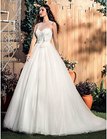 A-line Jewel Knee-length Tulle Wedding Dress (551597)