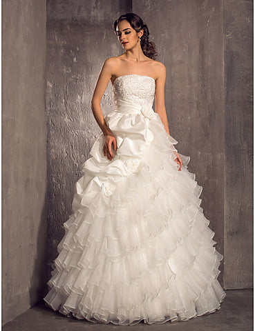 Wedding Dress A Line Floor Length Tiered Taffeta and Organza Strapless With Beading Appliques