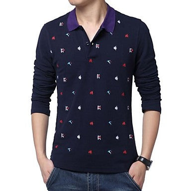 Men's Lapel Casual Embroidered Long Sleeve Polos