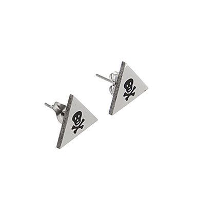 Vintage Triangle Bone Pattern Silver Alloy Stud Earring(1 Pair)