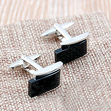 Memorable French Cupronickel & Agate Men's Cufflinks(Black,1 Pair)