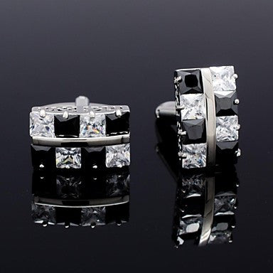 Men's Formal Business Groom Suits Shirt Zircon Cufflinks for Christmas Gift (More Colors)