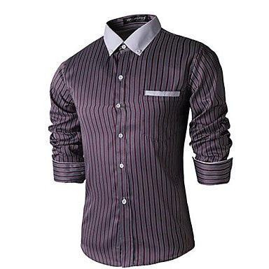 Men's Lapel Casual Long Sleeve Striped Shirt