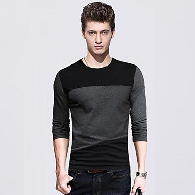 Men's Round Collar Long Sleeve Fashion T-shirts