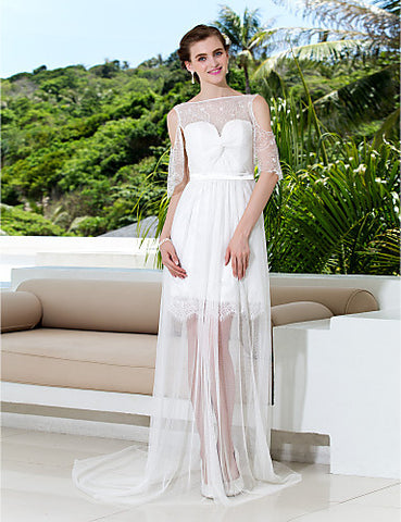 A-line Bateau Court Train Tulle And Lace Wedding Dress (783918)