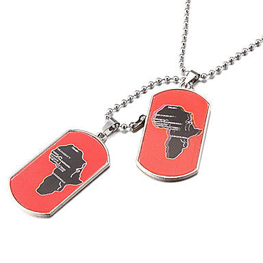Men's (Double Tag Red Africa Map) Silver Alloy Pendant Necklace (1 Pc)