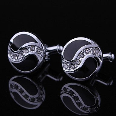 Black and Silver Crystal Round Mens Cufflinks (1pair)