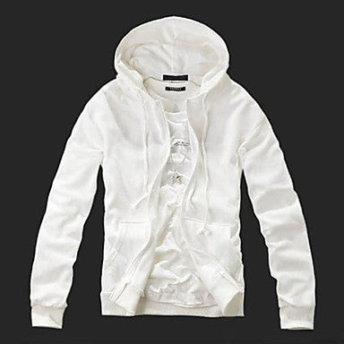 Men's Fasion Pure Color Hoodie Coat