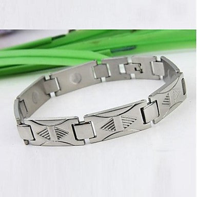 Men's Fashion Personality Titanium Steel Triangle Stripe Silver Bracelets