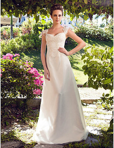 Wedding Dress A Line Floor Length Tulle Satin Sweetheart With Beading Appliques